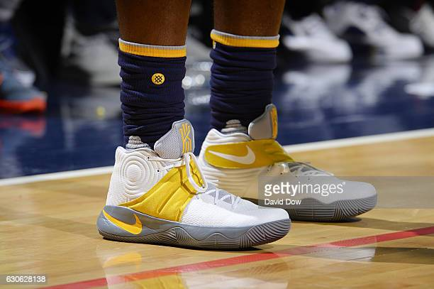 The sneakers of CJ Miles of the Indiana Pacers are seen during a game against the Washington Wizards on December 28 2016 at the Verizon Center in...