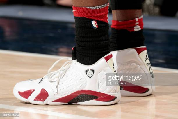 The sneakers of CJ Miles of the Toronto Raptors during the game against the Indiana Pacers on March 15 2018 at Bankers Life Fieldhouse in...