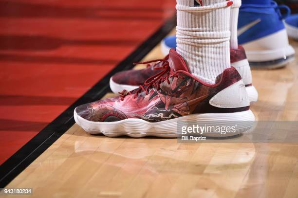 The sneakers of Clint Capela of the Houston Rockets seen during the game against the Oklahoma City Thunder on April 7 2018 at the Toyota Center in...