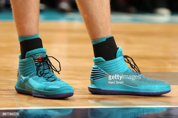 The sneakers of Cody Zeller of the Charlotte Hornets during the game against the Golden State Warriors on December 6 2017 at Spectrum Center in...