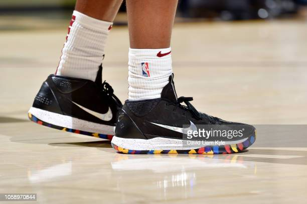 the sneakers of Collin Sexton of the Cleveland Cavaliers are seen against the Oklahoma City Thunder on November 7 2018 at Quicken Loans Arena in...