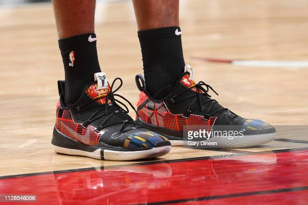 The sneakers of Cristiano Felicio of the Chicago Bulls as seen during the game against the Atlanta Hawks on March 3 2019 at the United Center in...