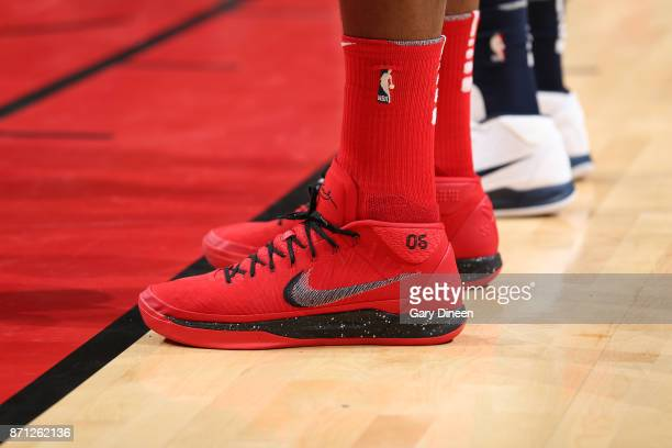 The sneakers of Cristiano Felicio of the Chicago Bulls during the game against the New Orleans Pelicans on November 4 2017 at the United Center in...