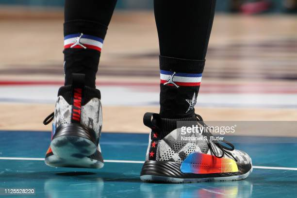 The sneakers of Damian Lillard of Team LeBron are worn during the 2019 NBA AllStar Game on February 17 2019 at the Spectrum Center in Charlotte North...