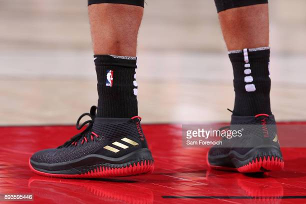The sneakers of Damian Lillard of the Portland Trail Blazers during the game against the Houston Rockets on December 9 2017 at the Moda Center in...