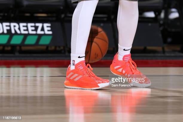 The sneakers of Damian Lillard of the Portland Trail Blazers seen prior to the game against the Toronto Raptors on November 13 2019 at the Moda...