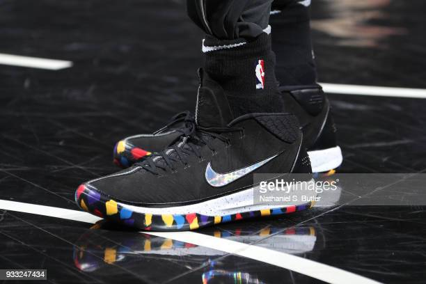 The sneakers of D'Angelo Russell of the Brooklyn Nets are seen before the game against the Dallas Mavericks on March 17 2018 at Barclays Center in...