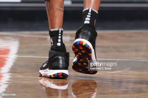 The sneakers of D'Angelo Russell of the Brooklyn Nets are seen during the game against the Dallas Mavericks on March 17 2018 at Barclays Center in...