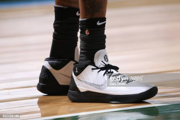 The sneakers of D'Angelo Russell of the Brooklyn Nets are seen during the game against the Milwaukee Bucks on April 5 2018 at the BMO Harris Bradley...