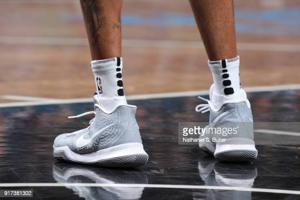 The sneakers of D'Angelo Russell of the Brooklyn Nets during the game against the New Orleans Pelicans on February 10 2018 at Barclays Center in...