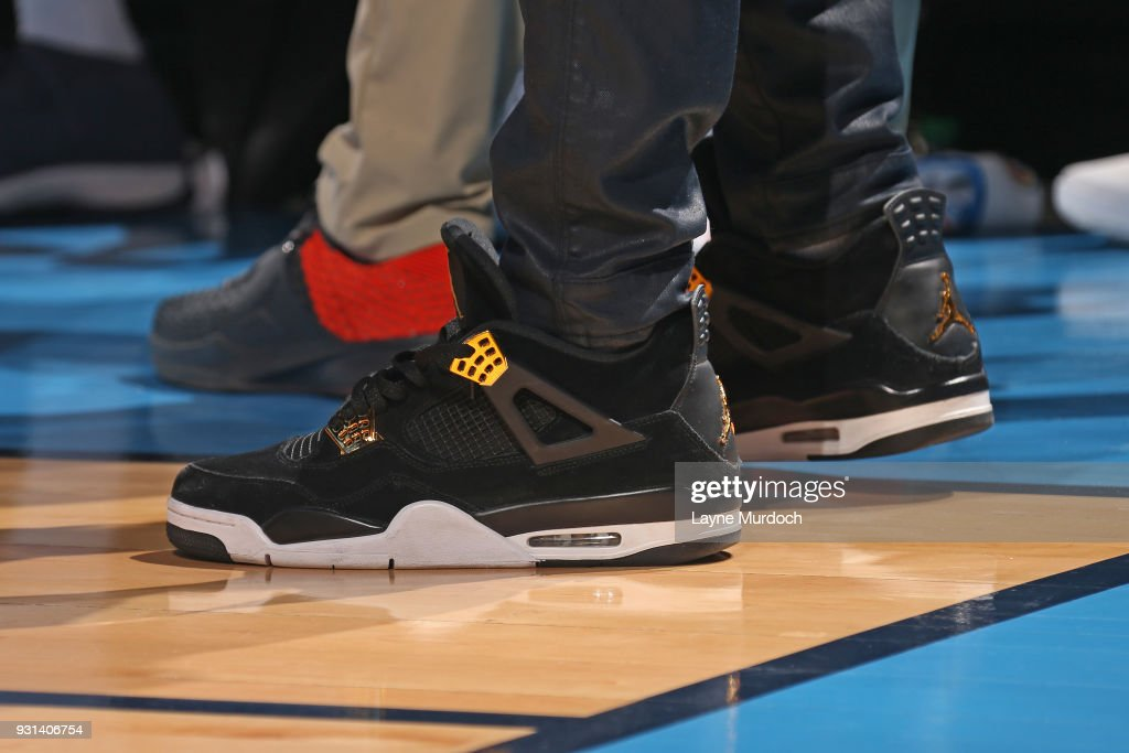 The sneakers of Daniel Hamilton #25 of the Oklahoma City Thunder during the game against the Sacramento Kings on March 12, 2018 at Chesapeake Energy Arena in Oklahoma City, Oklahoma.