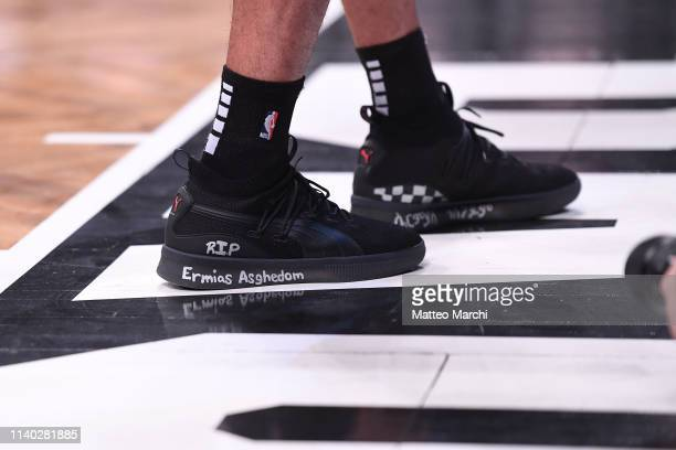The sneakers of Danny Green of the Toronto Raptors before the game against the Brooklyn Nets at Barclays Center on April 3 2019 in the Brooklyn...