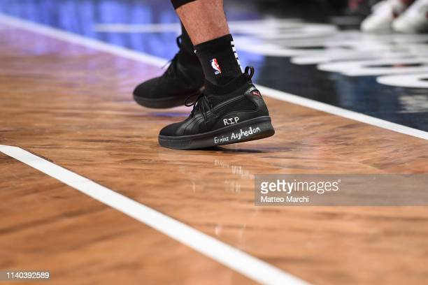 The sneakers of Danny Green of the Toronto Raptors during the game against the Brooklyn Nets at Barclays Center on April 3 2019 in the Brooklyn...