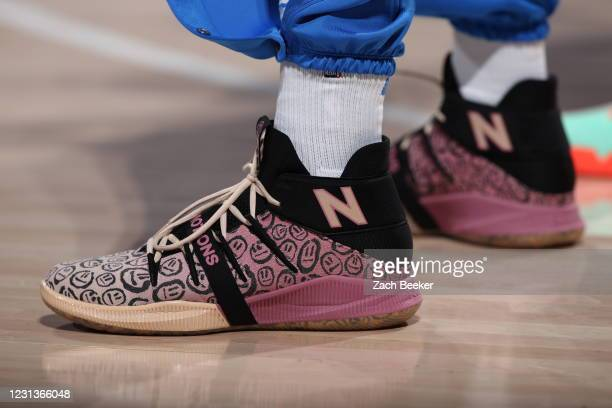 The sneakers of Darius Bazley of the Oklahoma City Thunder before the game against the San Antonio Spurs on February 24, 2021 at Chesapeake Energy...