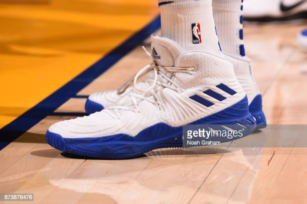 The sneakers of David West of the Golden State Warriors during the game against the Orlando Magic on November 13 2017 at ORACLE Arena in Oakland...