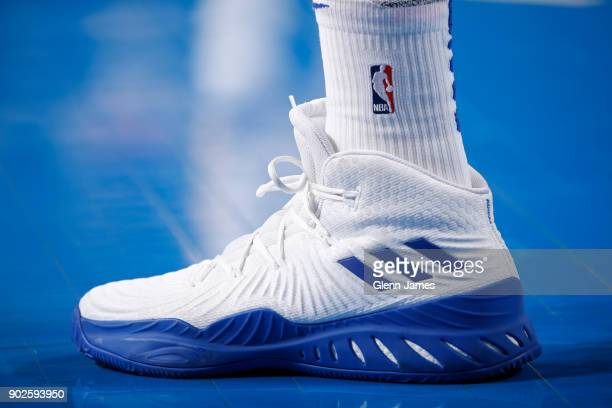 The sneakers of David West of the Golden State Warriors during the game against the Dallas Mavericks on January 3 2018 at the American Airlines...