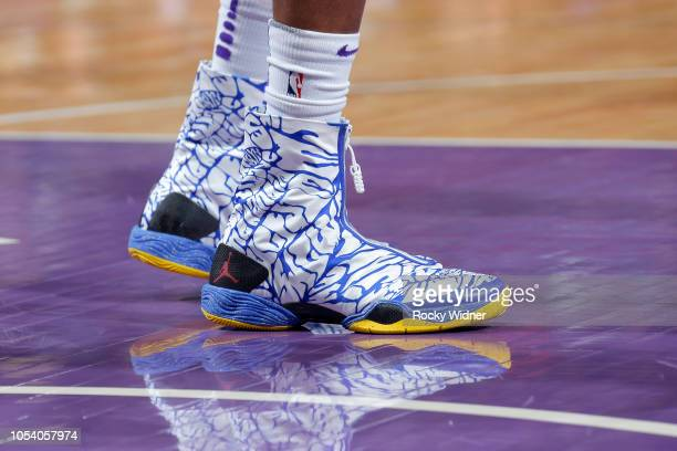 The sneakers of De'Aaron Fox of the Sacramento Kings during the game against the Washington Wizards on October 26 2018 at Golden 1 Center in...