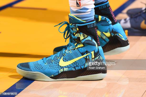 The sneakers of De'Aaron Fox of the Sacramento Kings during the game against the Golden State Warriors on November 24 2018 at ORACLE Arena in Oakland...