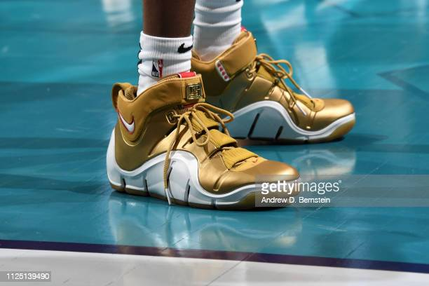 The sneakers of De'Aaron Fox of the US Team during the 2019 Mtn Dew ICE Rising Stars Game on February 15 2019 at the Spectrum Center in Charlotte...