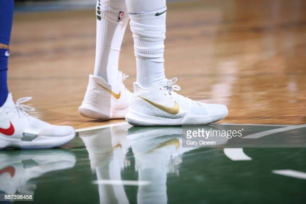 The sneakers of DeAndre Liggins of the Milwaukee Bucks are seen during the game against the Detroit Pistons on December 6 2017 at the BMO Harris...