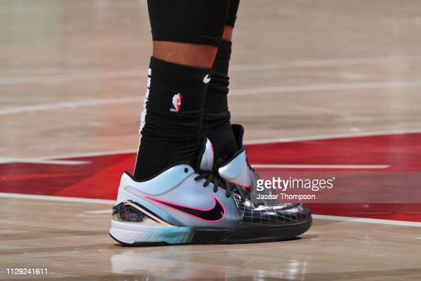 The sneakers of DeMar DeRozan of the San Antonio Spurs during the game against the Atlanta Hawks on March 6 2019 at State Farm Arena in Atlanta...