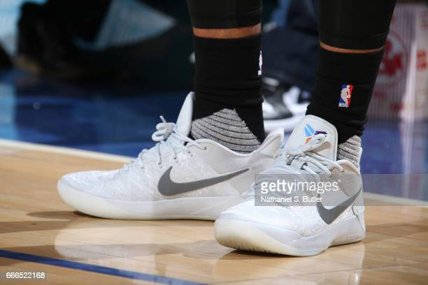 The sneakers of DeMar DeRozan of the Toronto Raptors are seen during a game against the New York Knicks on April 9 2017 at Madison Square Garden in...