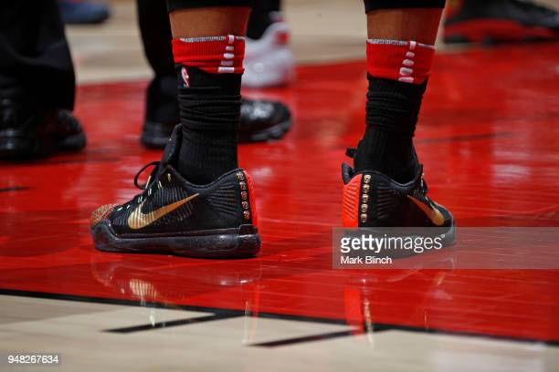 The sneakers of DeMar DeRozan of the Toronto Raptors during the game against the Washington Wizards in Game Two of Round One of the 2018 NBA Playoffs...