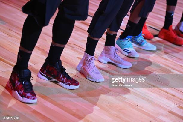 The sneakers of DeMar DeRozan Stephen Curry and James Harden of Team Stephen before the game for the National Anthem during the NBA AllStar Game as a...