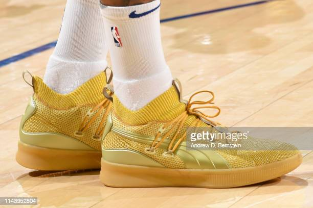 The sneakers of DeMarcus Cousins of the Golden State Warriors are worn prior to a game against the Portland Trail Blazers before Game One of the 2019...