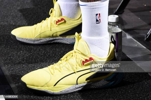 The sneakers of DeMarcus Cousins of the Golden State Warriors before Game Three of the Western Conference Finals against the Portland Trail Blazers...