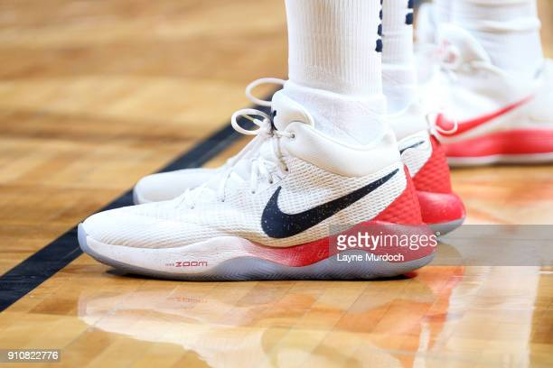 The sneakers of DeMarcus Cousins of the New Orleans Pelicans during the game against the Houston Rockets on January 26 2018 at Smoothie King Center...