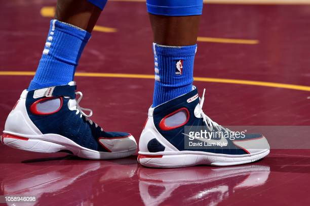 the sneakers of Dennis Schroder of the Oklahoma City Thunder are seen against the Cleveland Cavaliers on November 7 2018 at Quicken Loans Arena in...