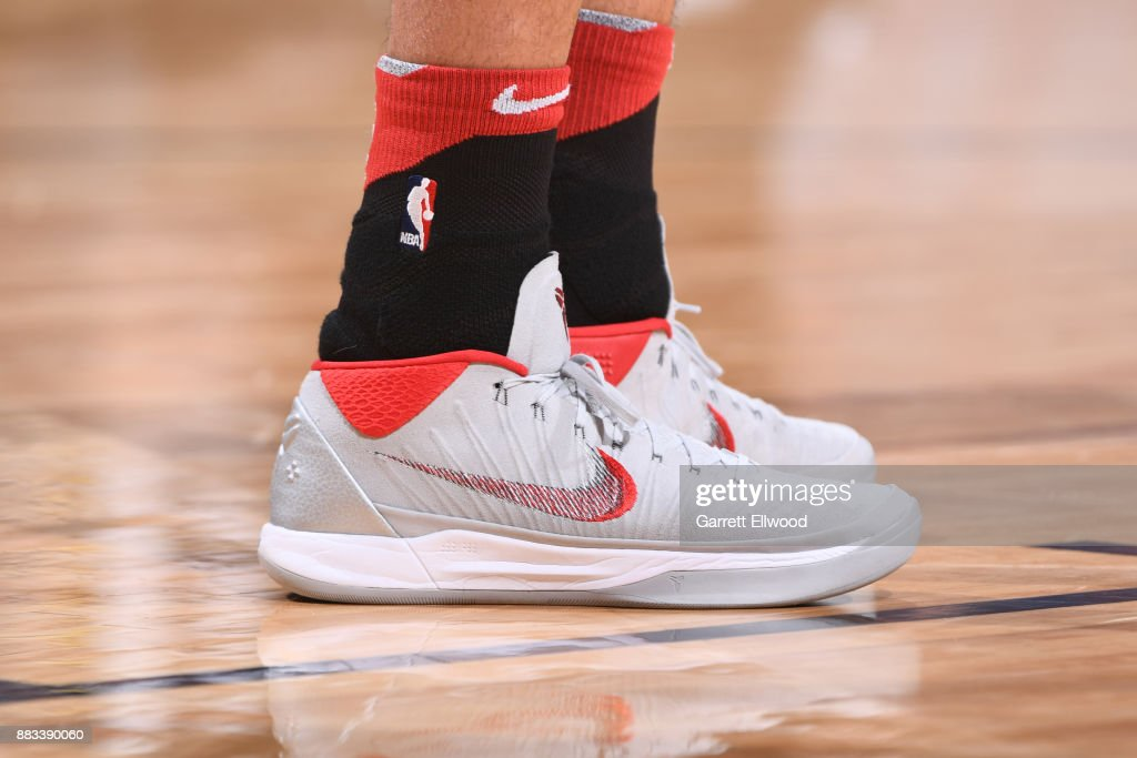The sneakers of Denzel Valentine #45 of the Chicago Bulls are seen during the game against the Denver Nuggets on November 30, 2017 at the Pepsi Center in Denver, Colorado.