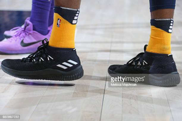 The sneakers of Derrick Favors of the Utah Jazz during the game against the Phoenix Suns on March 15 2018 at vivintSmartHome Arena in Salt Lake City...