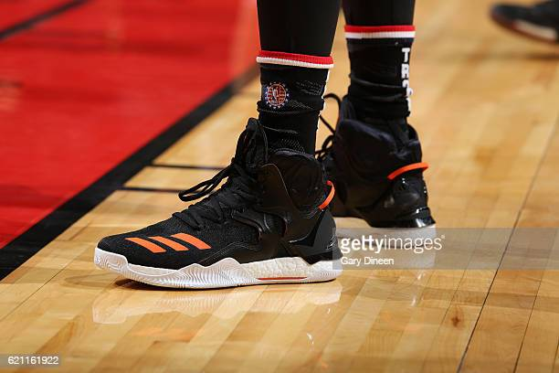 The sneakers of Derrick Rose of the New York Knicks are seen before a game against the Chicago Bulls on November 4 2016 at the United Center in...