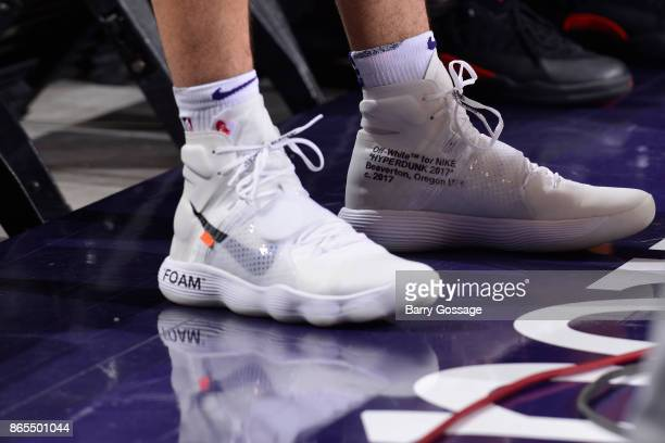 The sneakers of Devin Booker of the Phoenix Suns during the game against the Los Angeles Lakers on October 20 2017 at Talking Stick Resort Arena in...