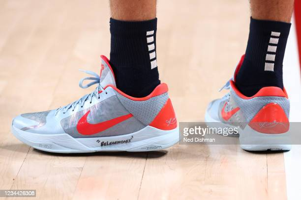 The sneakers of Devin Booker of the USA Men's National Team during the game against the Spain Men's National Team during the 2020 Tokyo Olympics on...