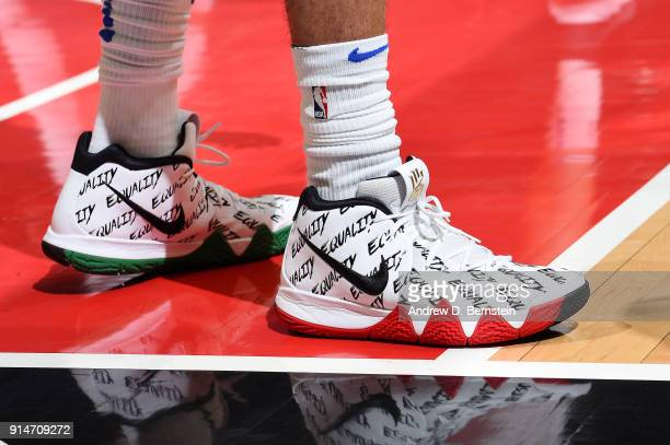 The sneakers of Devin Harris of the Dallas Mavericks are seen during the game against the LA Clippers on February 5 2018 at STAPLES Center in Los...
