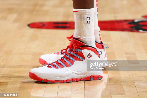 The sneakers of Dewayne Dedmon of the Atlanta Hawks as seen during the game against the Chicago Bulls on March 3 2019 at the United Center in Chicago...