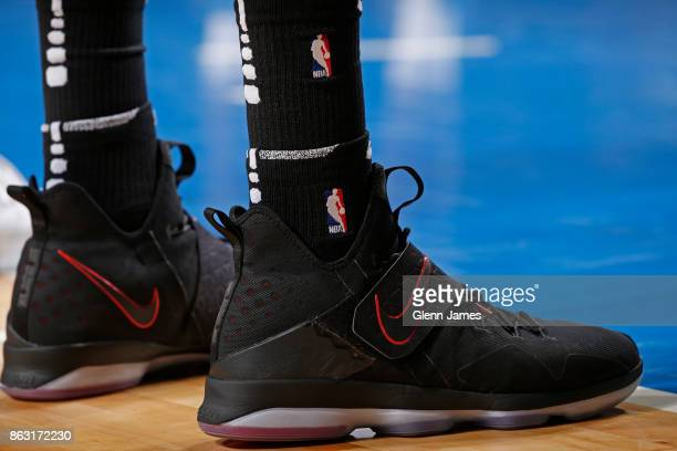 The sneakers of Dewayne Dedmon of the Atlanta Hawks during the game against the Dallas Mavericks at the American Airlines Center in Dallas Texas on...