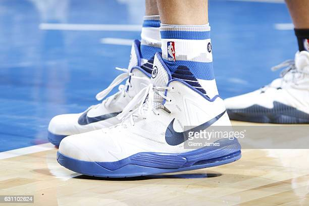 The sneakers of Dirk Nowitzki of the Dallas Mavericks are seen during the game against the Washington Wizards on January 3 2017 at the American...