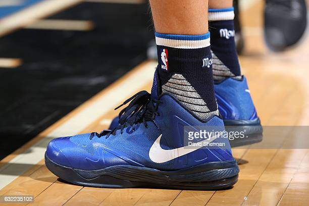 The sneakers of Dirk Nowitzki of the Dallas Mavericks are seen during the game against the Minnesota Timberwolves on January 9 2017 at Target Center...