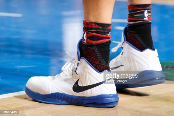 The sneakers of Dirk Nowitzki of the Dallas Mavericks are seen during a game against the Boston Celtics on February 13 2017 at American Airlines...