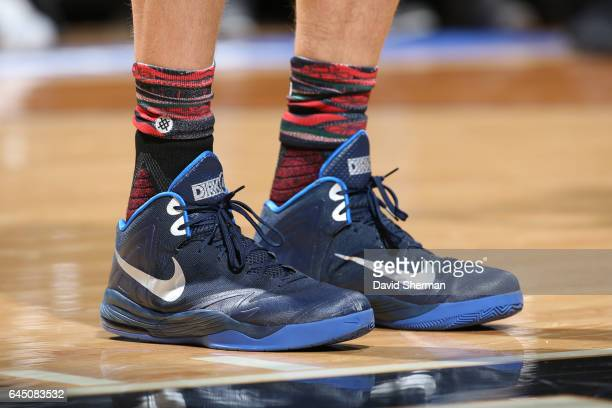 The sneakers of Dirk Nowitzki of the Dallas Mavericks are seen during a game against the Minnesota Timberwolves on February 24 2017 at the Target...