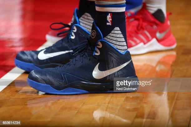 The sneakers of Dirk Nowitzki of the Dallas Mavericks are seen during the game against the Washington Wizards on March 15 2017 at Verizon Center in...