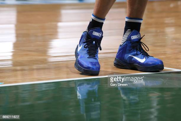 The sneakers of Dirk Nowitzki of the Dallas Mavericks are seen during the game against the Milwaukee Bucks on April 2 2017 at the BMO Harris Bradley...
