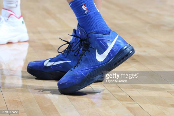 The sneakers of Dirk Nowitzki of the Dallas Mavericks are seen during the game against the Oklahoma City Thunder on November 12 2017 at Chesapeake...