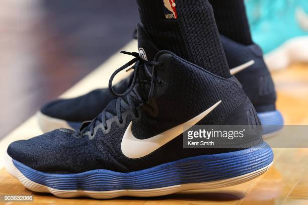 The sneakers of Dirk Nowitzki of the Dallas Mavericks are seen during the game against the Charlotte Hornets on January 10 2018 at Spectrum Center in...