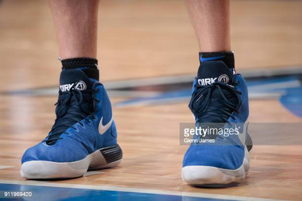 The sneakers of Dirk Nowitzki of the Dallas Mavericks are seen during the game against the Miami Heat on January 29 2018 at the American Airlines...