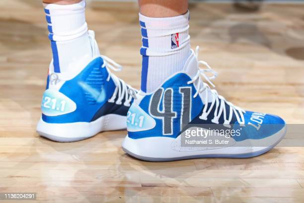 The sneakers of Dirk Nowitzki of the Dallas Mavericks are seen against the Phoenix Suns on April 9 2019 at American Airlines Center in Dallas TX NOTE...